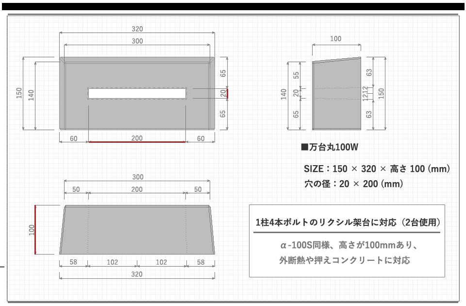 万台丸α-100Wのサイズ概要
