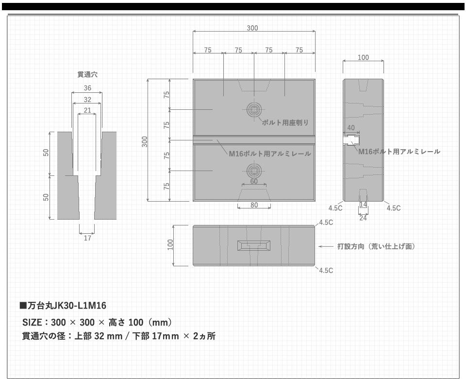 万台丸JK30-L1M16のサイズ概要