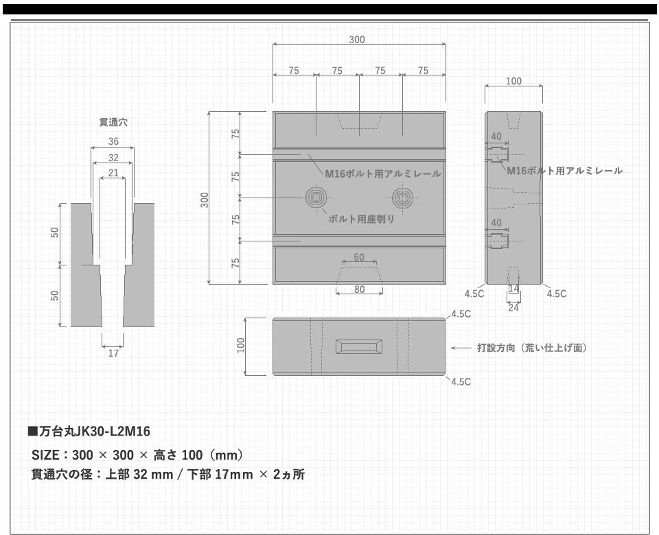 万台丸JK30-L2M16のサイズ概要